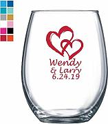 Sweet Hearts - Copa de vino personalizada, color