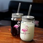 Tazas Mug Taza Creativo Flamingo Glass Mason Jar