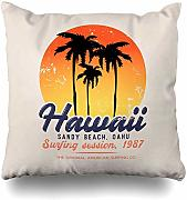 Throw Pillow Cover Square Badge on Surfing Surf