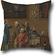 Throw Pillow Covers Of Oil Painting Thomas Patch - British Gentlemen At Sir Horace Mann's Home In Florence,for Divan,bf,study Room,kids,study Room,play Room 16 X 16 Inches / 40 By 40 Cm(double Sides)