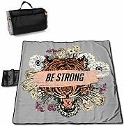 Tiger Head with Roses Picnic Blanket con Handcarry