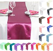 TtS 10PCS 30cm x 275cm Satin Mesa Corredores Silla Sashes Swags Tabla Boda Decoración (Borgoña)