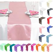 TtS 30cm x 275cm Satin Mesa Corredores Silla Sashes Swags Tabla Boda Decoración (Rosa)