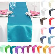 TtS 5PCS 30cm x 275cm Satin Mesa Corredores Silla Sashes Swags Tabla Boda Decoración (Turquesa)