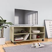 vidaXL Mueble TV con ruedas aglomerado color roble