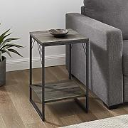 "WE Furniture 16"" Industrial Metal Accent Side"