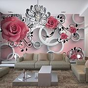 WH-PORP 3D Papel pintado Rose Pattern Living Room
