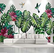 Wiwhy Mural De Pared 3D Planta Tropical Pintado A