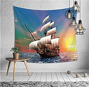 wrhua Shark Boat Diving Tapestry Headboard Wall