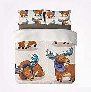 Yoyon Juego de Funda nórdica Moose Decor Warm