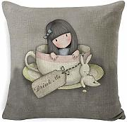 Zenmoce Cojines Sofas Cute Little Girl Funda